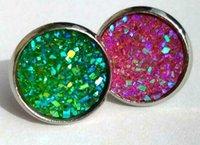 Wholesale Flower Girl Jewelry - 2018 Druzy Drusy Stud Earrings 12 Colors Rock Lava Crystal geometry Stone Earrings Jewelry for women Girl brithday christmas Gift