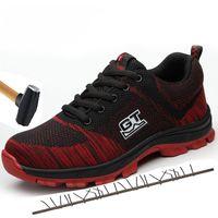 segurança industrial venda por atacado-Loecktty Men Plus Size Malha Respirável Aço Toe Sapatos de Segurança Ao Ar Livre Dos Homens Construção Industrial Punção À Prova de Sapatos de Trabalho
