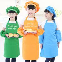 Wholesale free kid crafts resale online - Kids Aprons Pocket Craft Cooking Baking Art Painting Kids Kitchen Dining Bib Children Aprons Kids Aprons colors