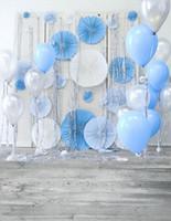 Wholesale White Vinyl Backdrops - 5x7ft Vinyl Boys Birthday Party Backdrop Wood Floor White Silver Blue Balloons Baby Newborn Photo Prop Photography Studio