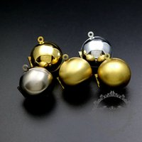 pirinç fotoğraf kilitleme kolye toptan satış-20mm yuvarlak gümüş, bronz, altın, antiqued gümüş, ham pirinç topu fotoğraf madalyon kolye çekicilik 1111053
