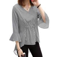 d8f2c13811a31 Women Striped Blouse Flare Sleeve V-Neck High-Low Hem Autumn Tunics Camisas  Elastic Waist Elegant Long 5XL Plus Size Shirt Top