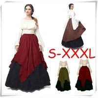 Wholesale Halloween Dress Witch - HOT!Women Halloween Cosplay Costume Medieval Renaissance Adult Witch Gothic Queen of Vampire Black Fancy Dress Girls Outfit Dress Size S-3XL