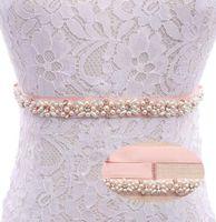 Wholesale handmade embroider flower dress - Handmade Bridal Pearls Crystal Wedding Dress Belts Rose Gold Pearls Crystal Applique Sew On Bridal Gown Sash YS803