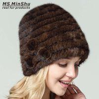 Wholesale genuine mink hat - Real Fur Hat Women Beanies Caps Genuine Mink Hat Winter Fashion Female Hand Knitted with Fur Flowers Ms.MinShu