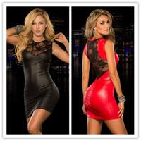 roupa interior vermelha sexo preto venda por atacado-Preto Vermelho M XXL Plus Size Sexy Fetiche Bondage Vestidos de Látex Rendas Pólo de Dança Traje Boate Mulheres PVC Lingerie Sexo Lingerie Y18102206