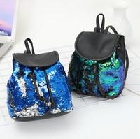 moda külotlu sırt çantası toptan satış-4 Renkler Seyahat Pullu İpli Sırt Çantası Sihirli Döner Madeni Pul Denizkızı Pullu Sırt Çantası Kadın Moda Açık Kitap Çanta CCA10464 12 adet