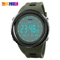 спортивные часы skmei оптовых-SKMEI Men Sports Watches Countdown Chrono Double Time LED Light Digital Wristwatches Water Resistant Horloge Orologio Uomo Watch