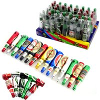 Wholesale best gift smoking - Mini Beer Bottle Metal Pipes Creative Hand Oil Burner Smoking Pipes 68mm Portable Tobacco Pipes Best Gift For Smoker 48pcs box