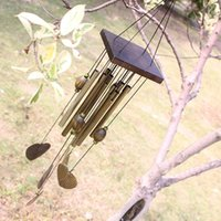 Wholesale decoration church - Love Heart 8 Tubes Wind Chime Outdoor Living Yard Wood Chapel Church Bells Garden Decoration 50pcs OOA5136