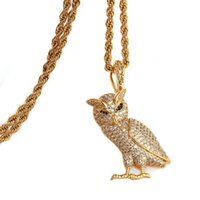 Wholesale men's necklaces online - Iced Out Zircon Owl Pendant Animal Necklace Jewelry Gold Silver Copper Material Bling Aaa Cz Men S Hip Hip Pendant For Women
