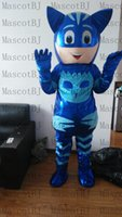 Wholesale custom mascots costumes - catman blue night hero pu leather Mascot Costume Complete Outfit new
