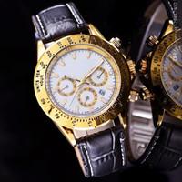 pulsera de cuero al por mayor-relogio masculino mens relojes de primeras marcas de lujo Diseñador de moda reloj de pulsera de cuero blanco Dial con calendario estilo clásico reloj de correa