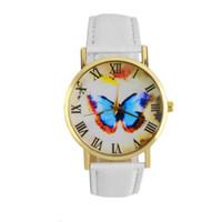 ingrosso orologi farfalla blu-GENBOLI Women Golden Round Shell Butterfly Orologio al quarzo Cinturino in pelle Casual nero / marrone / bianco / blu colore relogio masculino