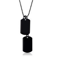chaîne d'identité des hommes achat en gros de-Collier en acier inoxydable noir double étiquette de chien pour hommes haute poli pendentif ID bijoux pour hommes 24