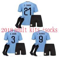 66ef395f0 A+++ quality world cup URUGUAY 2018 2019 men kits home soccer socks SUAREZ  D.GODIN E.CAVANI URUGUAY football shirt jersey adult jersey Sets