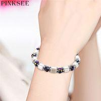 акриловый браслет оптовых-PINKSEE Men Beaded Bracelet Acrylic Crystal  Cuff Bangle Hand Chain Male Personality Jewelry Accessories