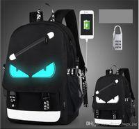 Wholesale usb characters - USB Charge Luminous backpack men studends bags 9 color travel bag Computer backpack Large capacity shoulderschool bag send anti-theft lock