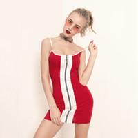 ingrosso abiti di colore blocco-Zipper Front Summer Dresses Color Block Abiti corti Spaghetti Strap Bodycon Mini Abiti 2019 S-L