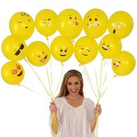 gelber smiley großhandel-Emoji Ballons Smiley Gesichtsausdruck Gelb Latex Ballons Party Hochzeitsdekoration Ballon Cartoon Aufblasbare Bälle