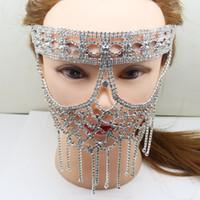 mascara bricolaje para fiesta de disfraces al por mayor-Lujo Elegante Máscara de Diamante Cristal Artificial DIY Hallowma Máscara Veneciana Sexy Half Face Party Máscara de La Mascarada Decoración