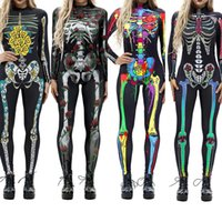 Wholesale women s nurse costumes online - Halloween Costumes for Women Horror Zombie Costume Female Sexy Skeleton Costume Halloween Clothes Jumpsuit Festival S XL