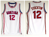 john sport großhandel-Gonzaga Bulldogs Basketball 12 John Stockton Jersey Highschool Team Weiß Farbe Stockton Bulldogs Jerseys Atmungsaktiv Sport Kostenloser Versand