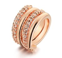 ingrosso gioielli in oro placcato italina-Anelli di vendita calda delle donne anelli placcato oro reale 18k moda moda due-in-one anelli gioielli marchio Italina