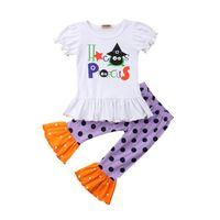 polka dot t-shirt säugling großhandel-Halloween Infant Baby Mädchen Kinder Kleidung Sets T-shirt Tops Polka Dot Lose Hosen Baumwolle Outfits Kleidung Set Mädchen 6 Mt-4 t