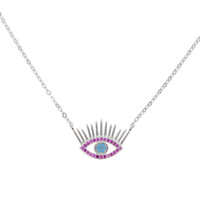 Wholesale turkish evil eye necklaces - 2018 Top Fashion Maxi Necklace Collier Collares Guarantee 925 Silver Eyelash Evil Eye Turkish Jewelry Rose Color Cz Necklace