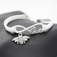 Wholesale Unique Links - AFSHOR Fashion Antique Silver Insect Cute Honeybee Bee Charm Pendant Infinity Love Gifts Leather Suede Bracelet for Women Men Unique Jewelry