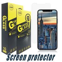 protector de pantalla anti-choque tpu al por mayor-El vidrio templado protector de la pantalla para el iPhone 9H 2.5D 11 Pro XR máximo 8 7 6S Plus Samsung J3 J2 Pro J7 J8 J4 J6 Plus 2017 2018 Primer LG Stylo 4 3