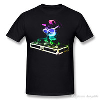 Wholesale neon light clothing resale online - 2017 Men Cotton Neon HOUSE CAT Rainbow DJ Kitty Light Up Tee Shirts Men O Neck White Shorts Sleeve Clothes S XL Printed On Tee Shirts