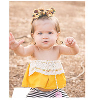 Wholesale Girls Boob Tube - INS Baby T-shirt 2018 New Lace Floral Ruffle Girls Princess Tops Summer Floral Strapless Infant Tops Cute Toddler boob tube top Clothes C288