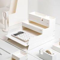 organizador de caixa de arquivo do escritório venda por atacado-Um Conjunto ABS Desktop Office Storage File Box Bandejas de Documentos Organizador Desk set Office