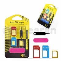 mikro sim adaptörleri toptan satış-5 in 1 metal Nano SIM Kart / Mikro SIM Kart / Standart sim Dönüştürücü Adaptör Adaptör iPhone 4 için tüm cellpone ile Çıkar Pin