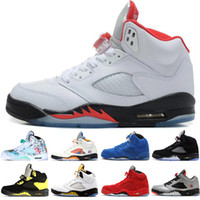 1729b37c4a4e Hot New 5 5s Wings International Flight Mens Basketball Shoes Red Blue Suede  White Black Grape men sports sneakers designer trainers US 7-13