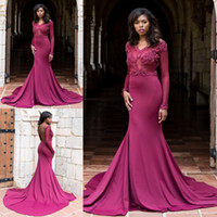 Wholesale Backless Black Dress Fashion - Babyonline 2018 Fashion Mermaid Long Sleeves Prom Dresses Sexy Open Back Illusion Occasion Evening Gowns Black Girls Party Celebrity Dress
