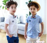 Wholesale boys blue collar shirt - Preppy style boys outfits summer new children stripes Bows tie lapel short sleeve shirt+half pants 2pcs sets kids cotton clothes Y5301