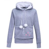 Wholesale animal hoodies ears - 2017 New Cartoon Hooded Hoodies Lover Cats Kangaroo Dog Hoodie Long Sleeve Sweatshirt Front Pocket Casual Animal Ear Hoodie