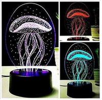 lámparas de medusas al por mayor-3D nueva lámpara de medusa luz nocturna mesa táctil escritorio lámparas de ilusión óptica 7 luces cambiantes de color decoración del hogar regalo de cumpleaños de Navidad