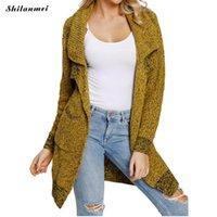 ingrosso giacca gialla delle signore-Harajuku Long Cardigan Ladies 2018 Autunno moda lunga maglia maglione donne grande cappotto casual nero giacca gialla Abbigliamento invernale