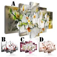 orquídeas lona óleo pintura conjuntos venda por atacado-Arte da parede Imagem Impressa Pintura A Óleo sobre Tela Sem Moldura 5 pçs / set Home Decor Simples Flor Da Orquídea