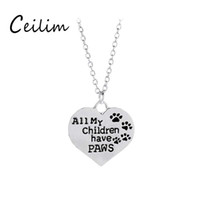 Wholesale Heart Necklaces For Cheap - Fashion jewelry All my children have paws pet necklace for women silver colors heart shape pendant charm necklaces cheap gifts wholesale