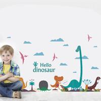 decalques em flor para infantário venda por atacado-Dinossauro colorido dos desenhos animados palm tree adesivos de parede para quartos de crianças nursery crianças decalques mural decor diy home art pvc decoração