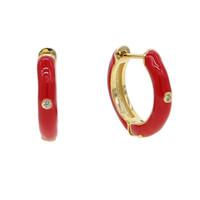 rote augenfarbe großhandel-Creole mit vergoldetem rotem Emaille mit einzelnen cz-Augen-Eleganzart und weisefrauengeschenkliebhaber-Geschenkroten Farbeohrringen