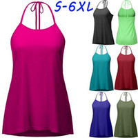 Wholesale Lace Back Tank Top Sleeveless - Solid Lace Up Vest Women Crop Top Sexy Back Lace-Up Tanks Summer Camis Casual Shirts Sleeveless Blusas Tees 7 Colors OOA3868