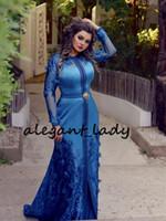 mariposa llena sexy al por mayor-Royal Blue Caftan Mermaid Prom vestidos formales con manga larga 2019 de longitud completa 3D Floral Butterfly Dubai Abaya Kaftan musulmán vestido de noche