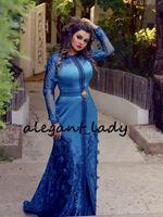 chiffon schmetterlinge großhandel-Royal Blue Kaftan Mermaid Prom Abendkleider mit Langarm 2019 In voller Länge 3D Floral Schmetterling Dubai Abaya Kaftan Muslim Abendkleid