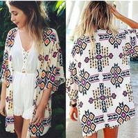 sommer chiffon bluse plus größe großhandel-Neue Ankunft 2019 Sommer Frauen Mode Chiffon Bluse Strickjacke Strand Kimono Print Sexy Plus Größe Kleidung Party Club Bluse